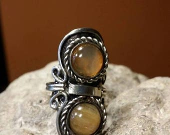 Holiday SALE 85 % OFF Onyx   Adjustable Ring Gemstone. 925 Sterling  Silver Tribal Ethnic