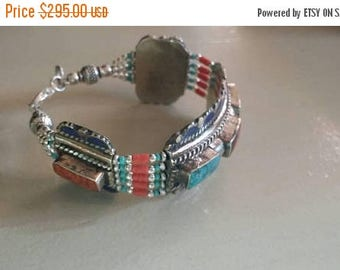 Holiday SALE 85 % OFF Lapis lazuli Turquoise  Red Coral  Bracelet Gemstone 925 Sterling  Silver