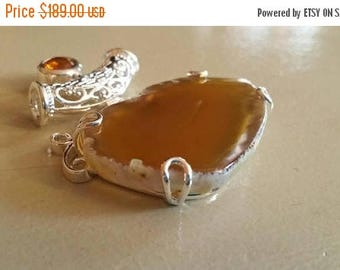 Holiday SALE 85 % OFF Agate Citrine  Pendant Gemstones  . 925 Sterling Silver