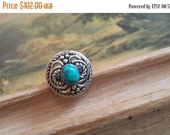 Holiday SALE 85 % OFF Size 5 Turquoise Ring Gemstone. 925 Sterling  Silver