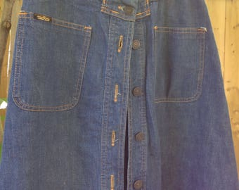 1970s vintage blue denim button up front bohemian hippie skirt with braided waist size M