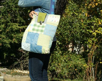patchwork blue and green fabric tote bag-