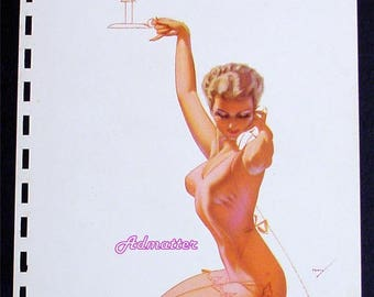 George Petty 1941 Esquire February Pin-up Girl Blonde on Phone in Pink Lingerie Nightie Pinup Calendar Art Print!