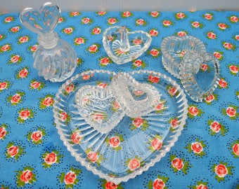 Cut Glass Hearts Jewelry Trinket Dishes Tray and Ring Holder