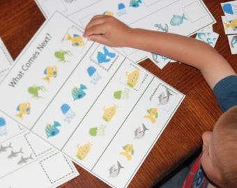 Shark Printable Worksheets - Matching Game - Preschool Learning - Homeschool - Party Game - Summer Learning - Shark Game