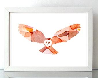 Flying Barn Owl art - barnowl watercolor painting - Art Print - orange brown decor -  owl illustration - abstract silhouette owl wings