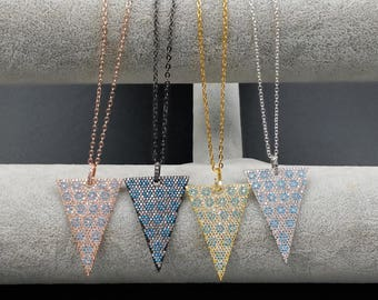 WT-MN001 Triangle cz pave necklace cubic zirconia necklace rose gold necklace gun black silver little flower embellished women jewelry gift