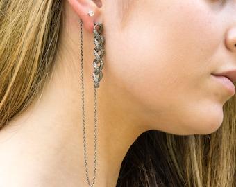 Edgy Chain Diamond Earrings - Pave Diamond Earrings - Long Earrings - Tassel Earrings - Dangling - Statement Earrings - Designer Jewelry