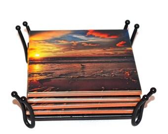 Valentines Day Gift Sunrise Beach Coasters / USA Made Ceramic Drink Coasters)  / Beach House Decor / Beach Gift