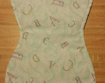 Alphabet ABCD Baby burp cloth handmade