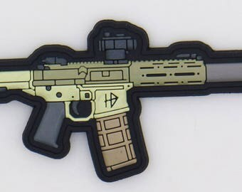 Honey Badger- The hb pew pew pvc patch version 1 - 3 inches worh hoop and loop velcro backing