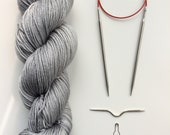 Per-order open for Hand dyed yarn ' Perfect grey sweater' Blue Faced Leicester and silk 100g,  British Farmed UK