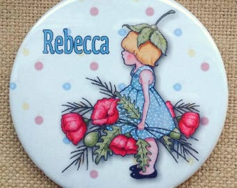 "Purse or Pocket Mirror, 3.5"", Personalized With Your NAME, Little Girl With Poppies and Daisies, Ladybugs, in Organza Bag"