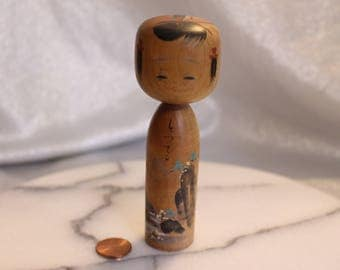 Beautiful Vintage Kokeshi Doll, Turned Doll, Japan Wooden Dolls, artist signed