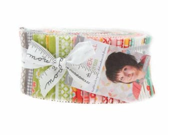 """Flower Mill Jelly Roll 40, 2.5"""" strips for Moda by Corey Yoder,  Bright and fun fabric strips, flowers, geometric, sample spree"""