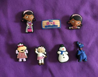 7-pc Doc McStuffins Shoe Charms for Crocs, Silicone Bracelet Charms, Party Favors, Jibbitz