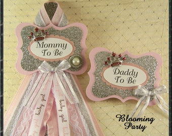 Pink and Silver Princess Mommy To Be and Daddy To Be Corsages Baby Shower Corsage Pink and Silver Guest Corsage Its A Girl Badge