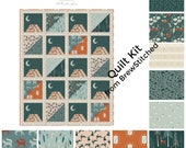 NEW! Woodland Quilt Kit - Fabric by the Yard - Fat Quarter Bundle - Quilt Pattern - Art Gallery Fabric - Campsite - Moonlit Camp Quilt Kit