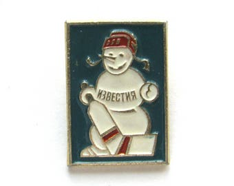 SALE, Snowman, Soviet Children's badge, Ice hockey, Vintage collectible badge, Soviet Vintage Pin, USSR, 1980s