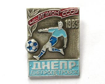 SALE, FC Dnepr Dnepropetrovsk 1983, Football, Sport, Champion, Soviet badge, Vintage collectible badge, Soviet Vintage Pin, USSR, 1970s