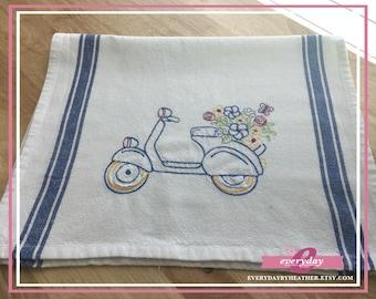 Scooter In Bloom Tea Towel | Embroidered Tea Towel | Kitchen Towel | Embroidered Towel | Hand Towel | Dish Towel