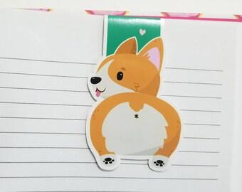 Corgi Magnetic Bookmark, Kawaii Corgi Dog Planner Clip, Cute Dog Bookmarks, Corgi Gift, Cute Dog Planner Accessory, Unique Dog Bookmarks