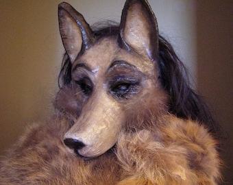 Masquerade mask Wolf mask Dog mask Halloween mask Animal mask Paper mache mask