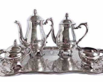 Vintage Tea Service by FB Rogers, Silverplate Tea Set, French Country Decor Silver Coffee Pot Creamer and Sugar Bowl, Silver Plate Holloware