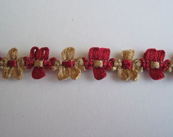 Ribbon rococo flowers Burgundy and beige