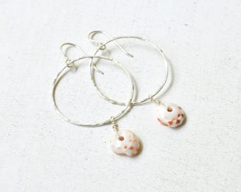Puka Shell Earrings, Sterling Hoop Earrings, Puka Shell Hoops Sterling, Hammered Hoops, Beachy Earrings