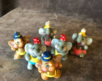 Vintage hand painted mini elephant birthday cdke candles