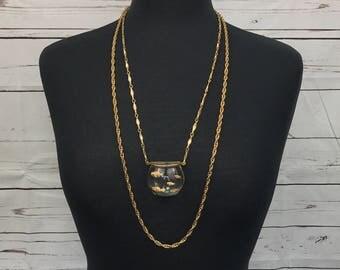 1960's Lucite Goldfish Fishbowl Pendant Chain Necklace Gold Fish Aquarium by Harrice Simmons HMS Castlecliff Vintage
