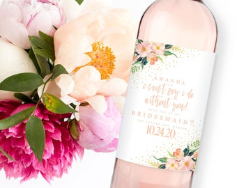 Will you be my Bridesmaid Wine Label, Bridesmaid Wine Label, Ask Bridesmaid, Bridesmaid Proposal Wine Label, Maid of Honor Wine Label #CL309