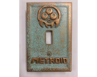 Metroid Stone or Copper/Patina Light Switch Cover (Custom)