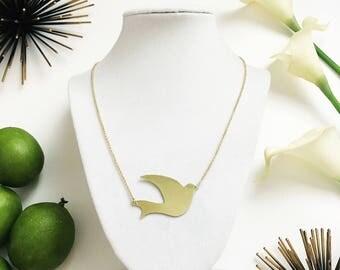 Swallow Bird in Flight Gold Chain Short Necklace