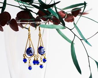 Blue chandalier beaded earrings