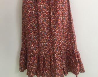 Handmade peasant skirt hippie boho style floral ruffle one size