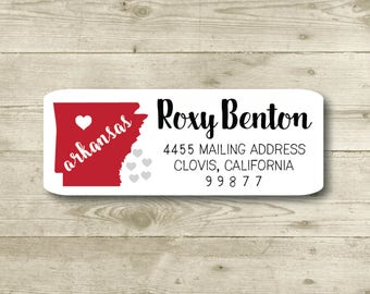 I Heart Arkansas, Hearts, Return Address Label, Personalized, MATTE, All Occasions, State
