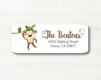 Monkey, Return Address Label, Custom, MATTE, Vine, Hanging Around, Zoo, Safari