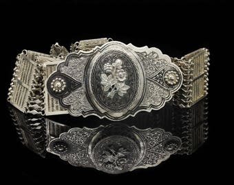 Antique original full silver niello ottoman amazıng belt