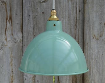 Vintage green grey industrial small hanging light pendant ceiling lamp shade BL2G3