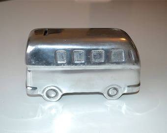 A cool vintage polished metal Volkswagon camper van money box splitty combi VW bus