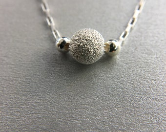 Minimalist silver necklace, silver Stardust bead necklace, sterling silver necklace, Dainty necklace.