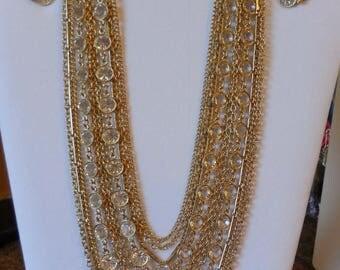 20% OFF SALE Vintage 1960s Kramer Multi Strand Open Back Crystal Necklace Clip Earrings Demi Parure