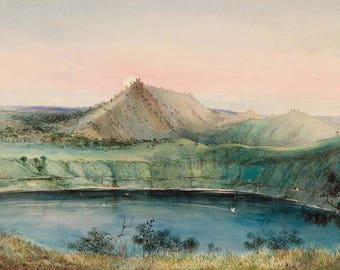 George French Angas: Blue Lake, Mount Gambier. Fine Art Print/Poster (004515)