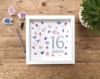 Fingerprint birthday guest book. Party guest book. 16th birthday guest book. Birthday present. Sweet 16. Gift for 16th birthday.