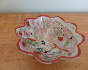 Vintage Geisha Girl bowl with red trim scalloped edge, Made in Japan traditional geisha girl pattern, hand painted red, green, black
