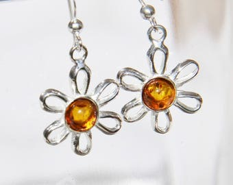 Baltic amber earrings on 925 Silver