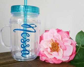 Mason jar tumblers. Bridal party. Gift. Wedding. Blue. Plastic. Customize.
