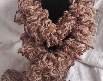 scarf with brooch, chocolate cream harmony jewelry